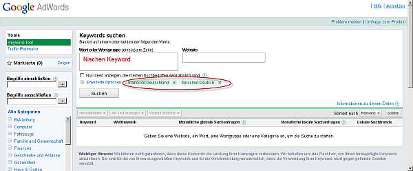 Google Keyword Tool zur Internet Marketing Strategie Recherche